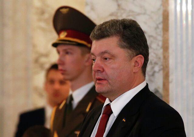 Le président ukrainien  Piotr Porochenko aux négociations à Minsk