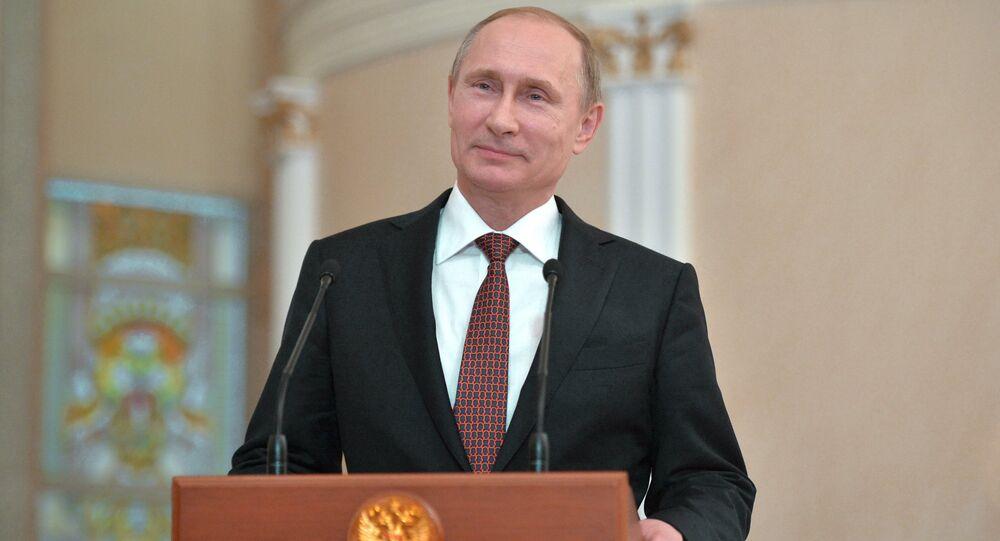 Le président russe Vladimir Poutine lors d'une conférence de presse à Minsk