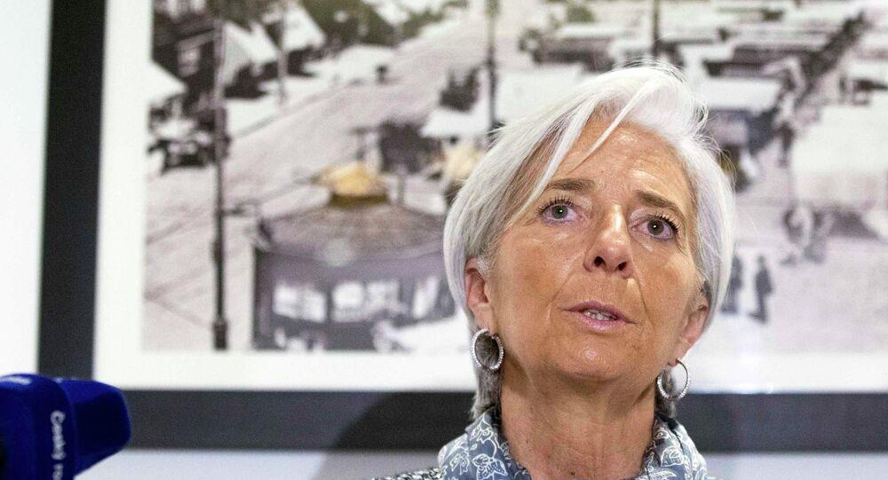 La directrice du FMI Christine Lagarde parle de la situation en Ukraine lors d'une conférence de Bruxelles