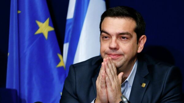 Greece's Prime Minister Alexis Tsipras addresses a news conference after an European Union leaders summit in Brussels February 12, 2015. - Sputnik France