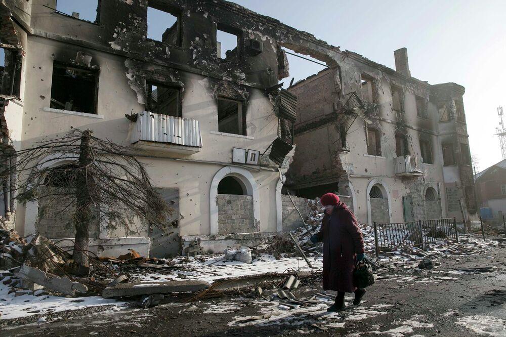 Dans les rues d'Ouglegorsk, le 14 février