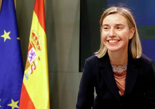 La chef de la diplomatie européenne Federica Mogherini à Madrid  lors d'une conférence de presse conjointe avec le ministre espagnol des Affaires étrangères José Manuel García-Margallo