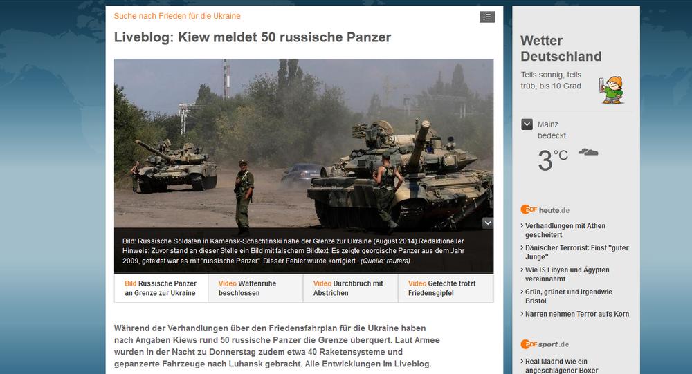 La chaîne ZDF a supprimé la fausse photo des chars russes pour la remplacer par une autre, sous-titrée: Des soldats russes à Kamensk-Chakhtinsk, non loin de la frontière avec l'Ukraine