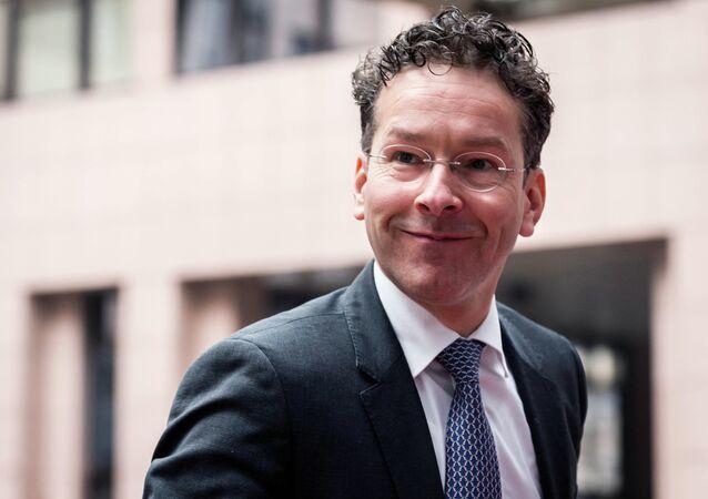 Ministre des Finances hollandais Jeroen Dijsselbloem, réunion de ministres des Finances d'Eurogroupe au bâtiment de Conseil d'UE à Bruxelles lundi, le 16 février 2015