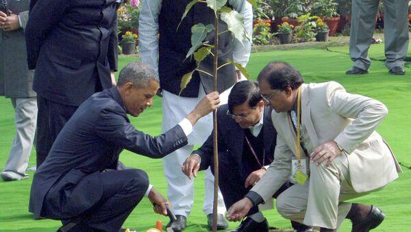 U.S. President Barack Obama (bottom L) plants a sapling after placing a wreath at the Mahatma Gandhi memorial at Rajghat in New Delhi, January 25, 2015 - Sputnik France