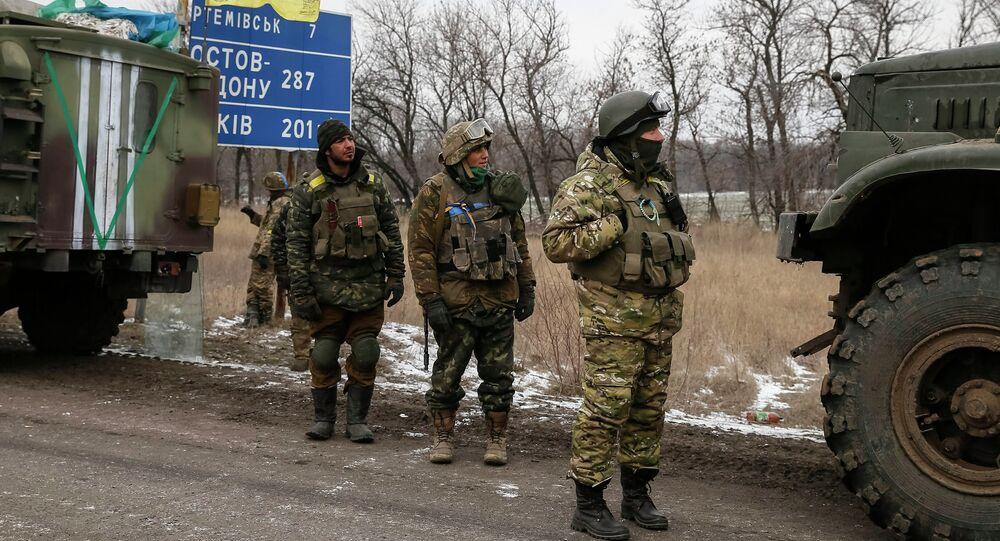 Des militaires ukrainiens  près d'Artemovsk