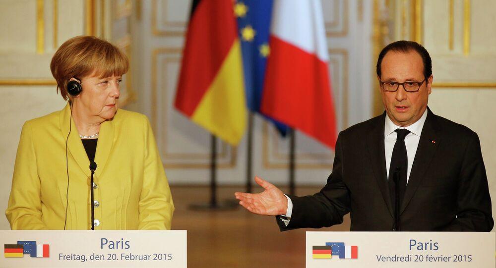 Le président français François Hollande et la chancelière allemande Angela Merkel
