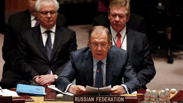 Russian Foreign Minister Sergey Lavrov addresses a meeting of the United Nations Security Council at the U.N. headquarters in New York, February 23, 2015 - Sputnik France