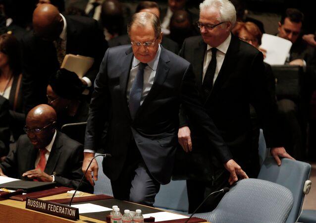 M.Lavrov lors de débats au Conseil de sécurité de l'Onu,Feb. 23, 2015
