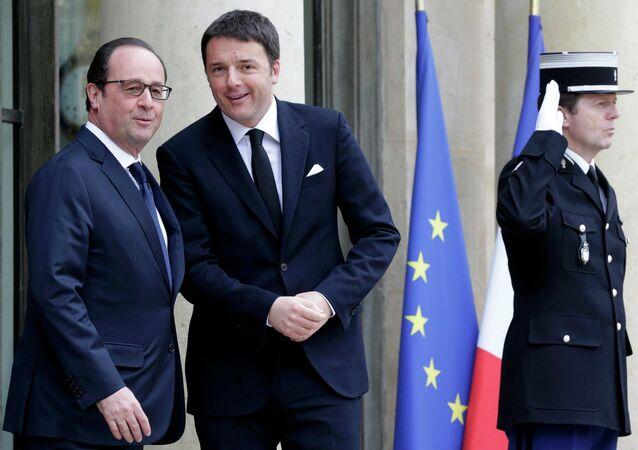 Le président français François Hollande et le premier ministre italien Matteo Renzi à Paris