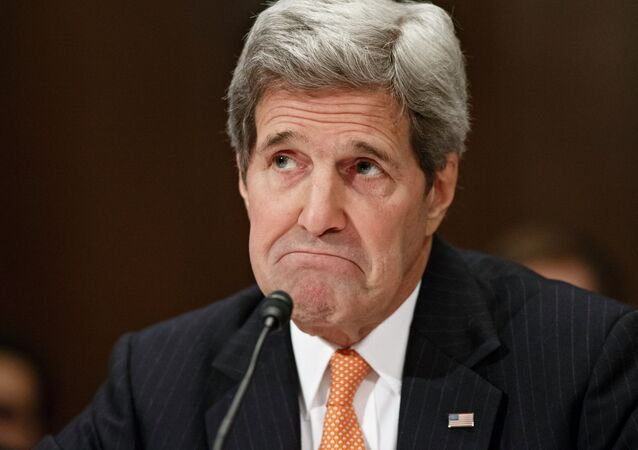 Secretary of State John Kerry testifies on Capitol Hill in Washington, Tuesday, Feb. 24, 2015, before a Senate Appropriations subcommittee to defend the budget requests for America's diplomacy operations