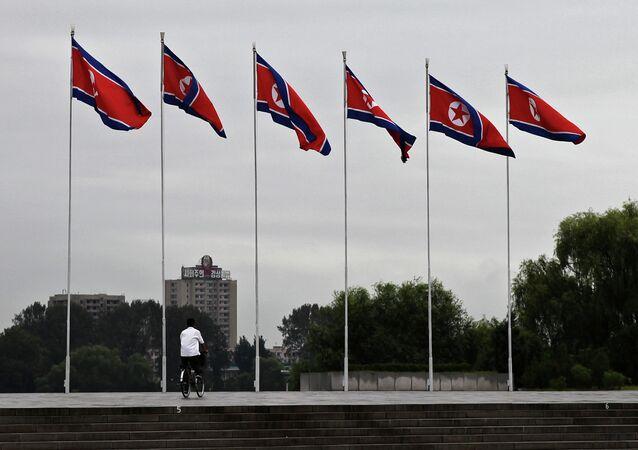 Drapeaux nord-coréens à Pyongyang