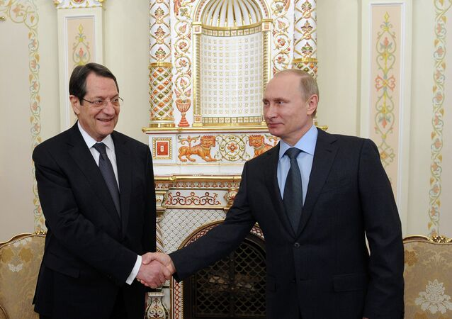 Nikos Anastasiadis et Vladimir Poutine. Feb. 25. 2015