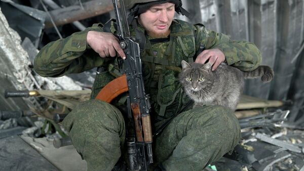 A Russian independence supporter pets a cat inside the destroyed building of the airport, outside Donetsk, Ukraine, Wednesday, Feb. 25, 2015 - Sputnik France