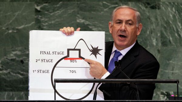 In Sept. 2012, Prime Minister Benjamin Netanyahu of Israel shows an illustration as he describes his concerns over Iran's nuclear ambitions during his address to the 67th session of the United Nations General Assembly at U.N. headquarters. Israeli Prime Minister Benjamin Netanyahu provided the U.N. with a memorable moment with a cartoon bomb a year ago, and he can be expected to again call for a hard line against Iran's nuclear program backed by the credible threat of force. - Sputnik France