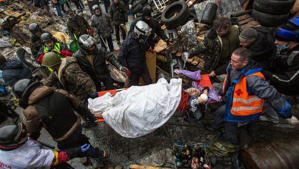 Manifestante herido en la Plaza de la Independencia (Maidán) de Kiev - Sputnik France