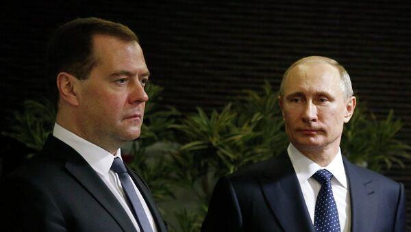 Dmitri Medvedev et Vladimir Putin - Sputnik France