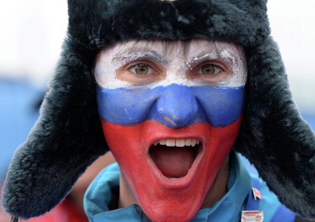 Un supporter russe en chapka