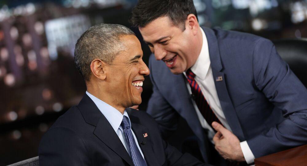 Barack Obama et Jimmy Kimmel lors du talk-show sur la chaîne ABC