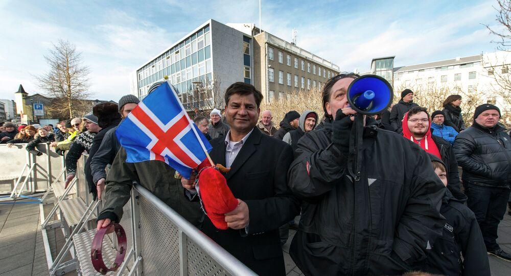 Manifestants, Reykjavik le 24 février 2014
