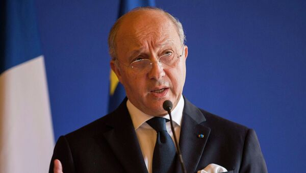 France's Foreign Minister Laurent Fabius speaks during a news conference with U.S. Secretary of State John Kerry in Paris March 7, 2015 - Sputnik France