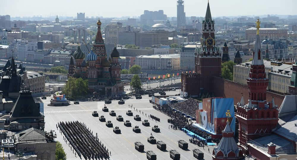 Défilé de la Victoire sur la place Rouge de Moscou. Archive photo