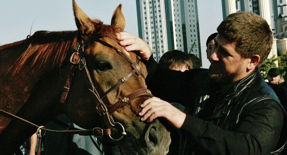 Ramzan Kadyrov avec son cheval