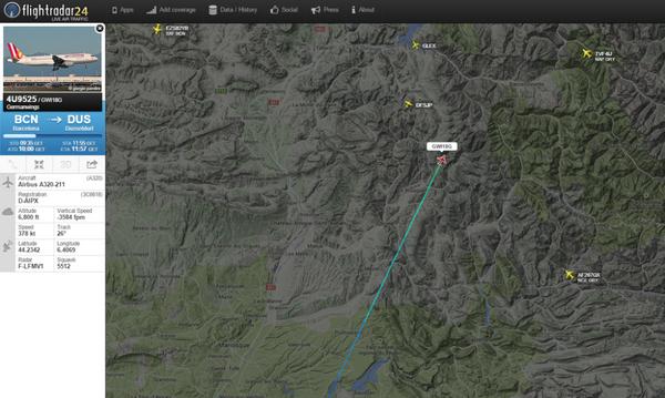 Скриншот с сайта Flightradar24, на котором изображен маршрут самолета Airbus A320, потерпевшего крушение - Sputnik France