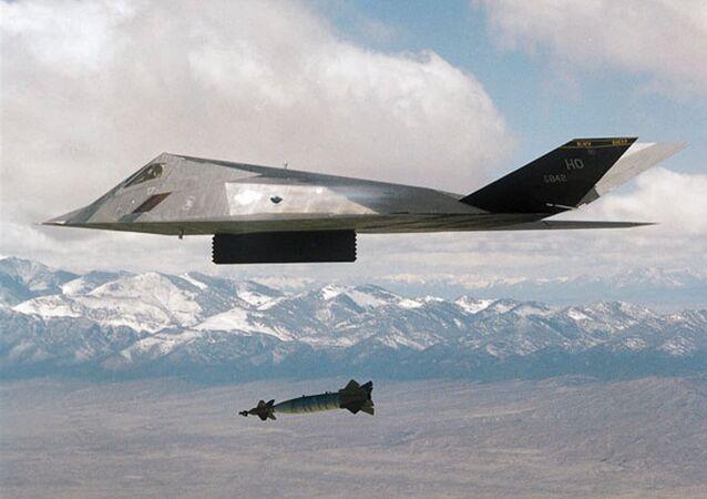 Un F-117 américain durant l'opération contre la Yougoslavie