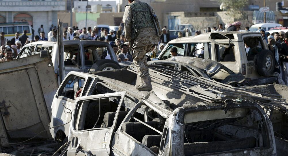 La capitale Sanaa après une frappe aérienne