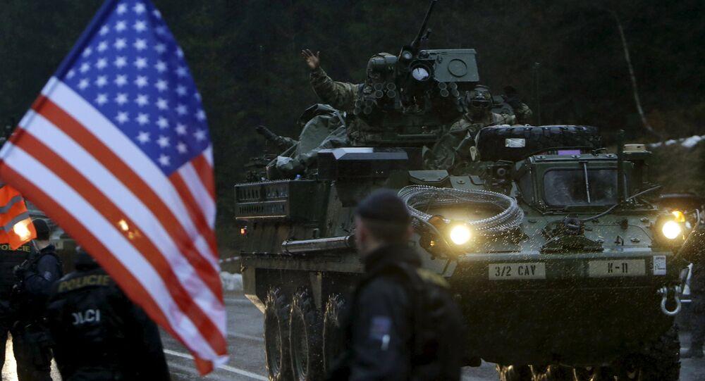 Soldats américains en Tchéquie lors des exercices militaires Dragoon Ride le 29 mars