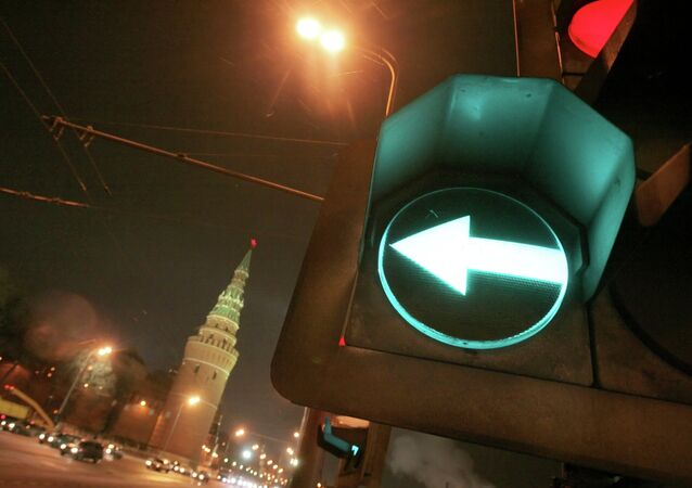 Feu vert près du Kremlin de Moscou