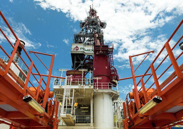Une plateforme pétrolière de Pemex dans le golfe du Mexique. Archives
