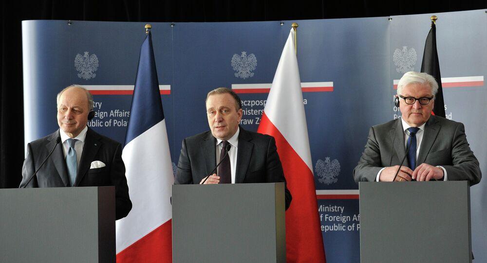 Laurent Fabius, Grzegorz Schetyna et Frank-Walter Steinmeier, Av. 3, 2015.