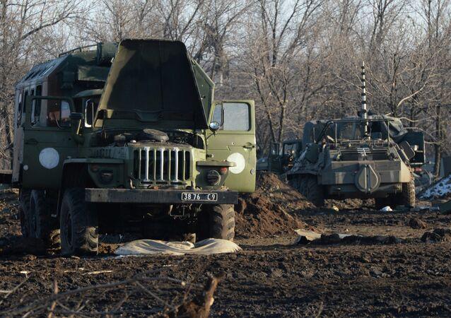 Véhicules de l'armée ukrainienne. Photo d'illustration
