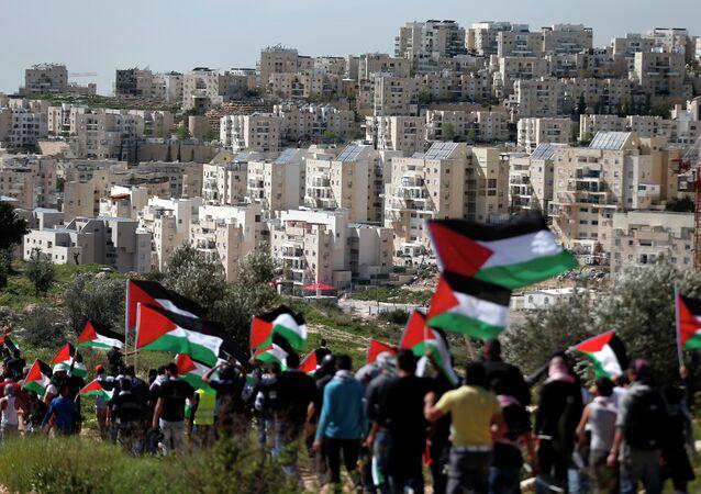 Palestiniens marchent avec leur drapeau national pendant une démonstration, 27 février 2015