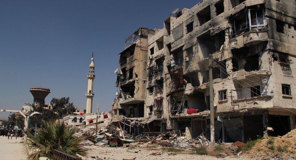 Un bâtiment détruit aux environs de Damas