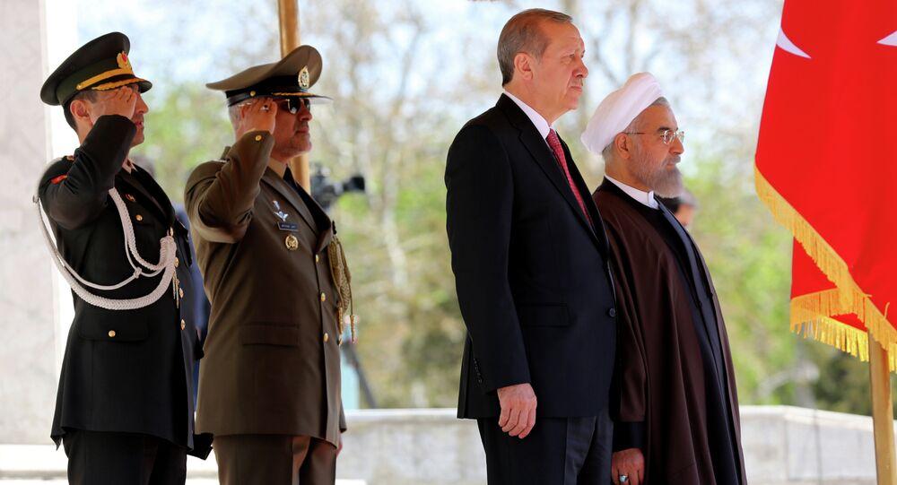 Le président turc  Recep Tayyip Erdogan avec son homologue iranien Hassan Rohani