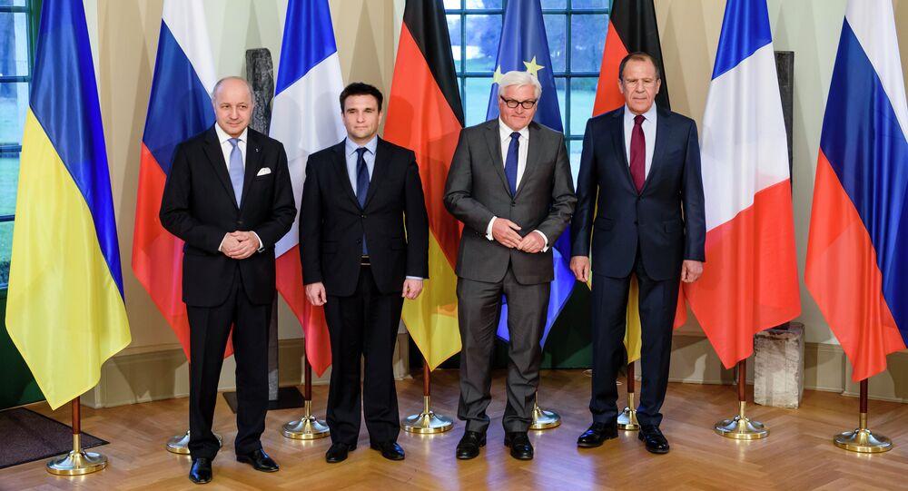 Laurent Fabius, Pavlo Klimkin,  Frank-Walter Steinmeier and Sergey Lavrov in Berlin