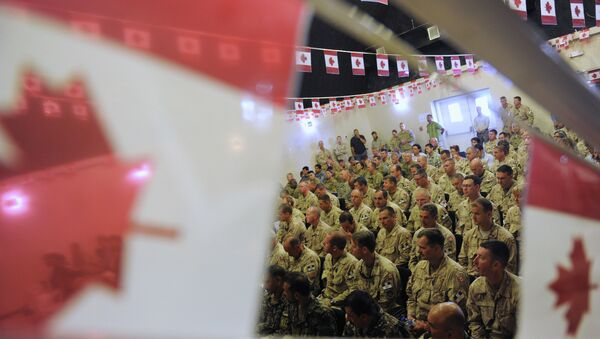 Canadian soldiers attend the handover ceremony to US forces at Kandahar airbase. File photo - Sputnik France