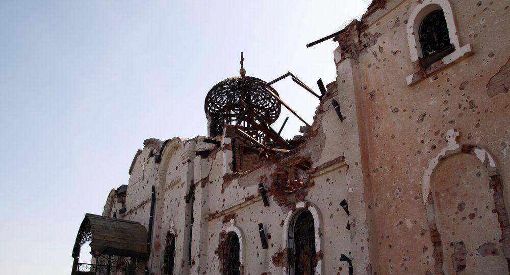 Monastère détruit lors des bombardements à Donetsk (Archives)