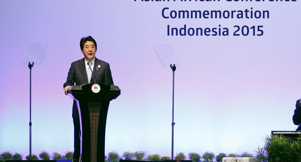 Premier ministre de Japon Shinzo Abe à la conférence Asie-Afrique en Indonésie
