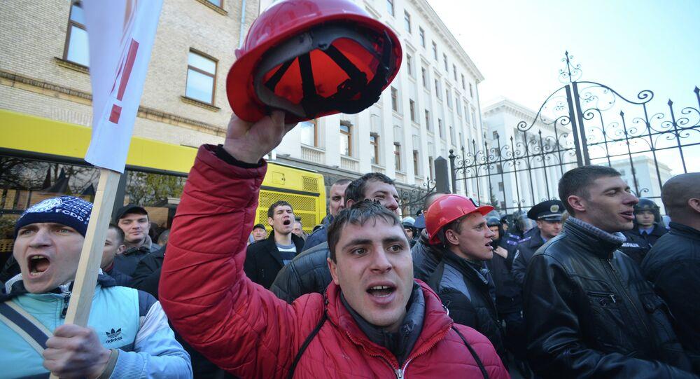 Manifestation des mineurs ukrainiens à Kiev