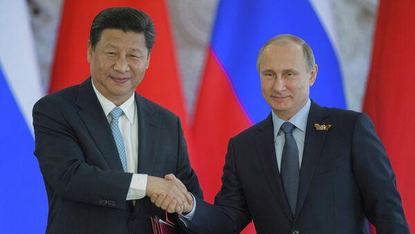 président russe Vladimir Poutine avec président chinois Xi Jinping - Sputnik France