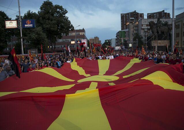 Protestataires à Skopje