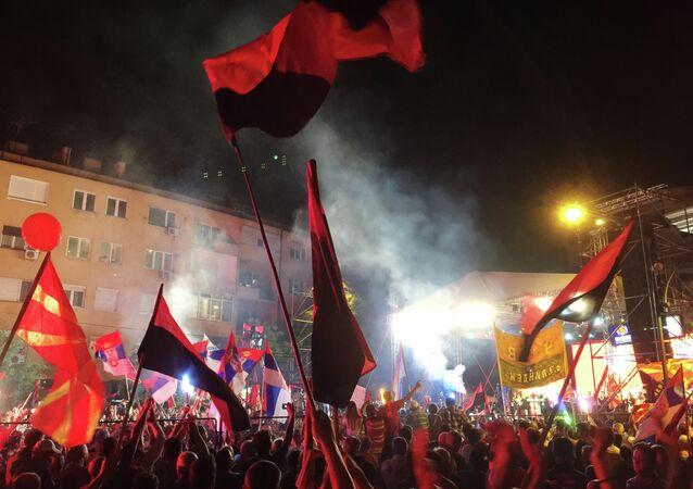 Protestations à Skopje