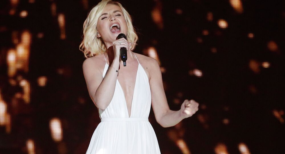 Polina Gagarina from Russia performs during the first semi-final of the Eurovision Song Contest (ESC) on May 19, 2015 in Vienna