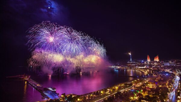 1st European Olympic Games countdown beginning salutes in Baku - Sputnik France