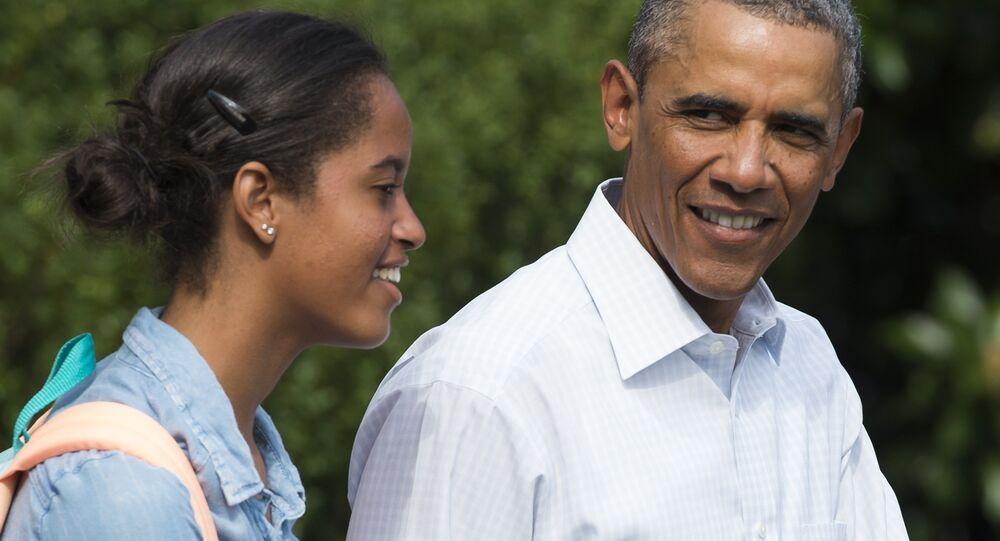Barack Obama avec sa fille Malia, 2014.