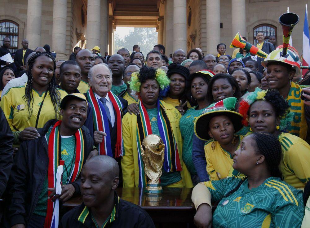 Le président de la FIFA Joseph Blatter en visite en Afrique du Sud